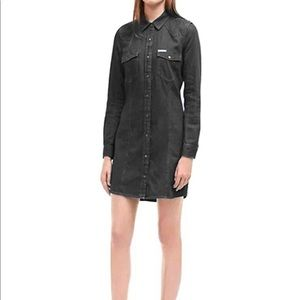 Calvin Klein Long Sleeve Black denim dress Sz. L
